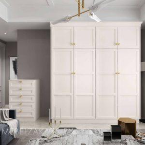 Белый классический четырехдверный шкаф