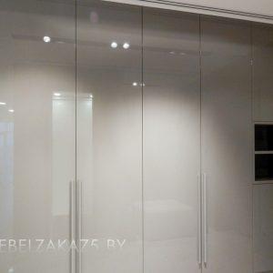 Глянцевый серый распашной шкаф
