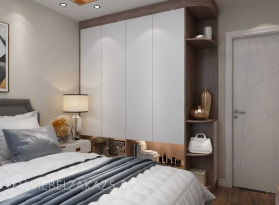 Белый глянцевый распашной шкаф