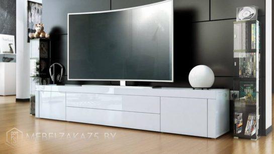Тумба под телевизор белая хай тек